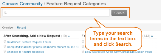 use search bar to locate requests
