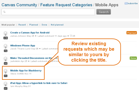 click on title of existing request to review for similarity