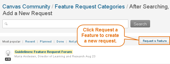 click Request a Feature