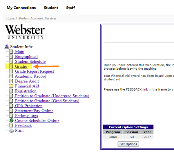 Student Academic Services menu