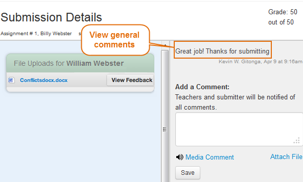Comments from our instructor will be displayed in the comments pane on the right side of the page.