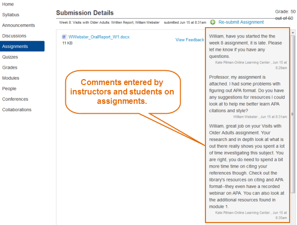 assignment comments can be viewed on the assignment