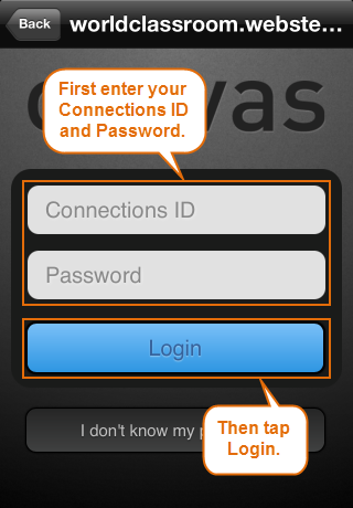 login screen on iPhone