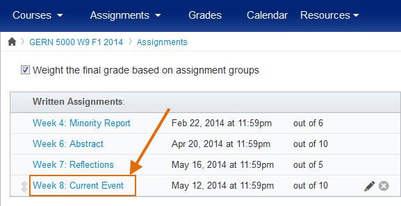 Click on the assignment name.