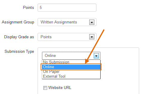 Scroll down the assignment editor page to the Submission Type drop-down menu. Confirm that the submission type shows Online