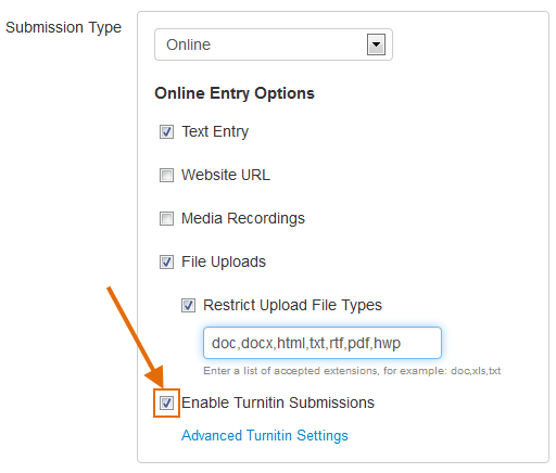Click the Enable Turnitin Submissions checkbox.