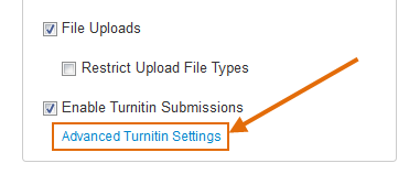 Click on the Advanced Turnitin Settings link.