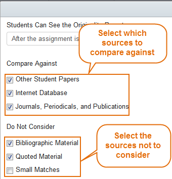 Choose what type of sources you want Turnitin to compare the assignment submissions against. By default, the following will be checked.