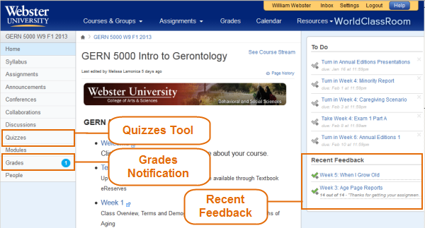 Quiz Areas Course Homepage
