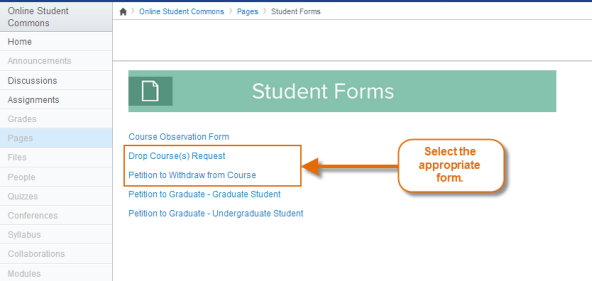 Student Forms page