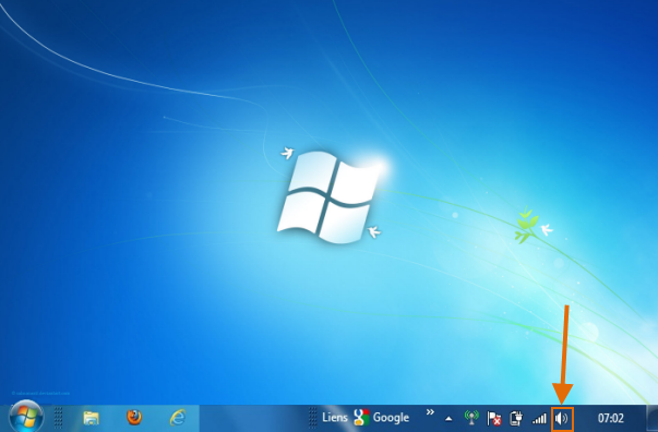 example of a PC desktop with volume controls