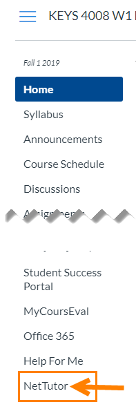 Link for NetTutor highlighted in Course Tool Menu